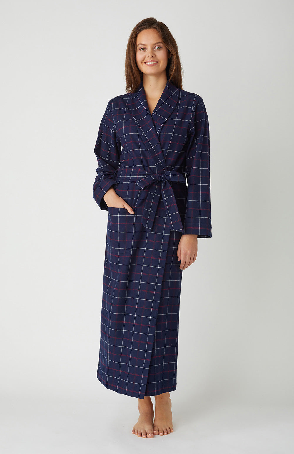 Women's Brushed Cotton Dressing Gown (tldg) - Pembury Check