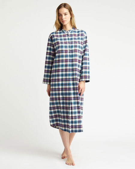 Women's Brushed Cotton Grandad Nightshirt - Lulworth Plaid