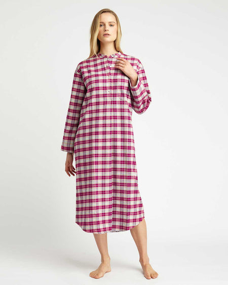 Women's Brushed Cotton Grandad Nightshirt - Melbury Plaid