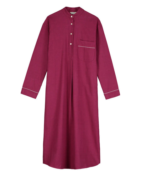 Brushed Cotton Grandad Nightshirt (tllg) - Mulled Wine