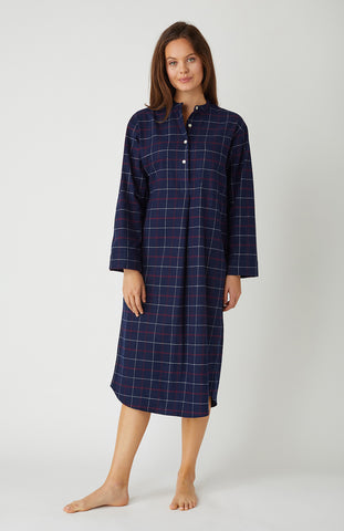 Women's Brushed Cotton Pyjama Trousers (Bltf) - Navy Gingham