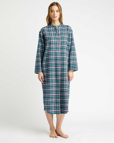 Women's Brushed Cotton Grandad Nightshirt - Purbeck Plaid