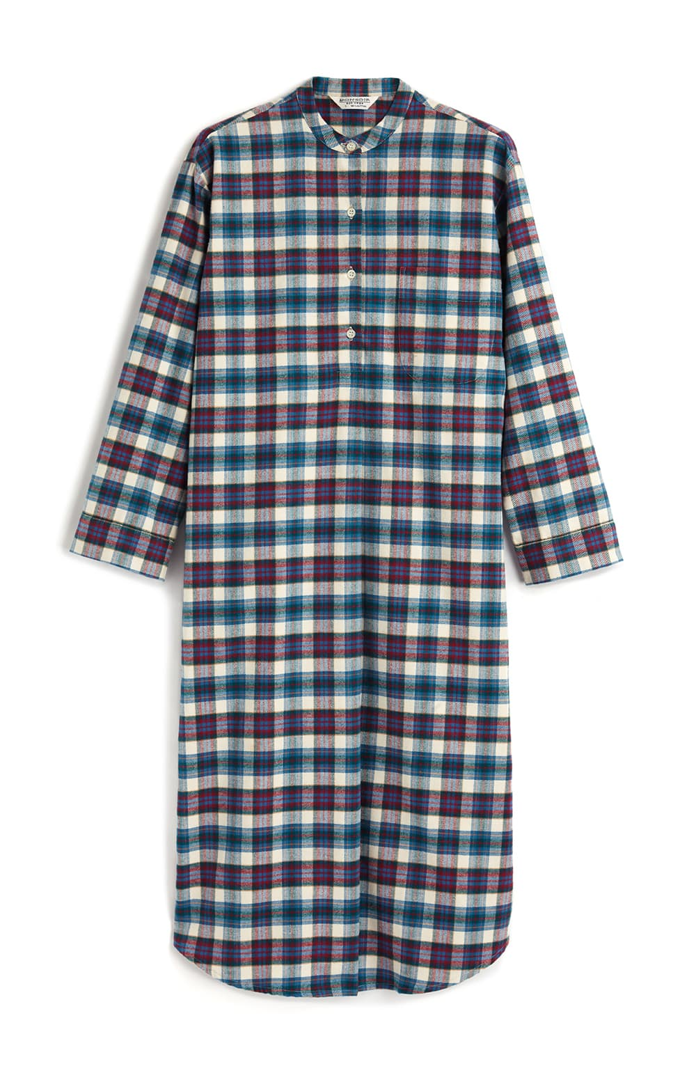 Brushed Tartan Grandad Nightshirt (tllg) - Lulworth | Bonsoir of London