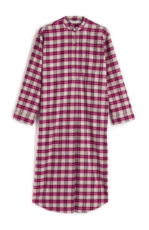 Brushed Tartan Grandad Nightshirt (tllg) - Melbury | Bonsoir of London