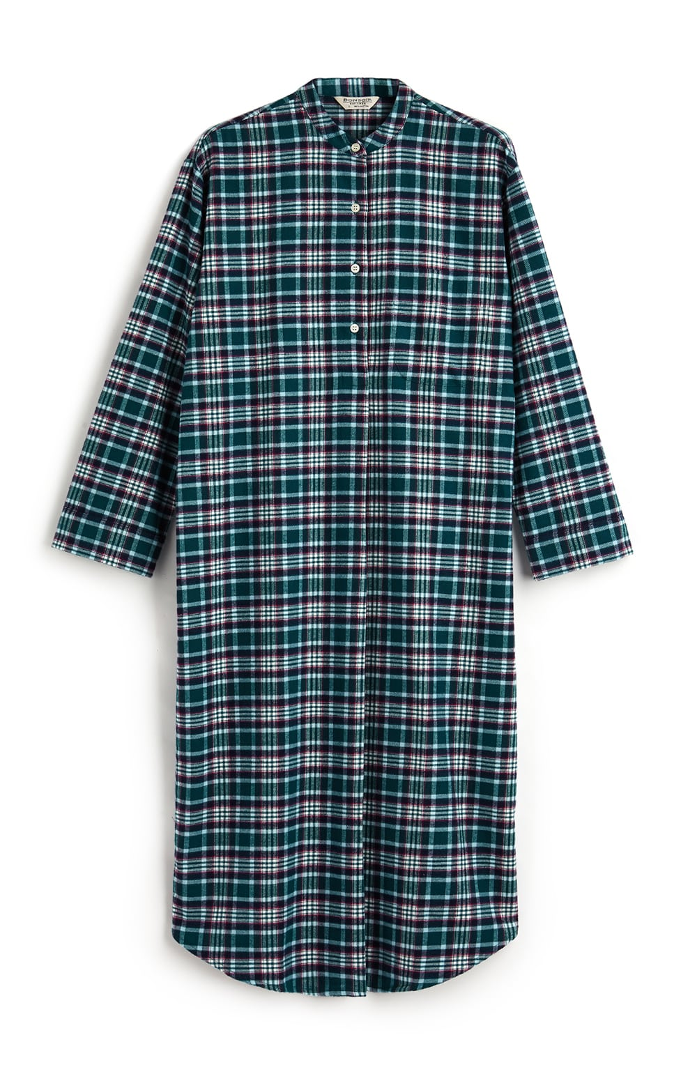 BRUSHED TARTAN GRANDAD NIGHTSHIRT - PURBECK