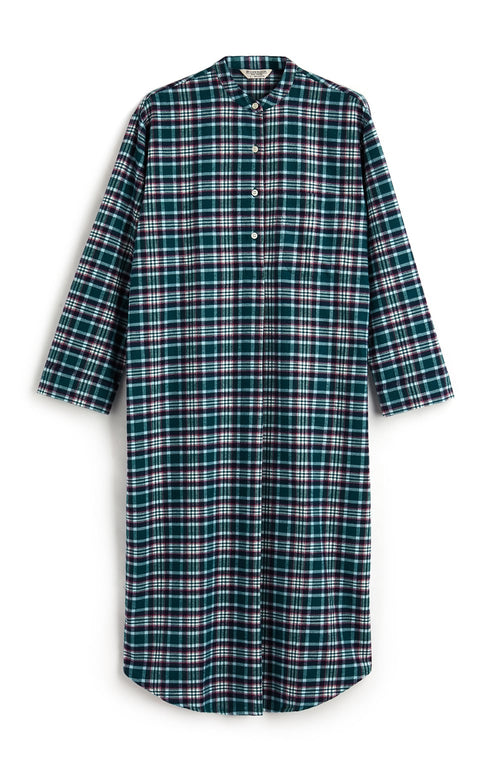 Brushed Tartan Grandad Nightshirt (tllg) - Purbeck | Bonsoir of London