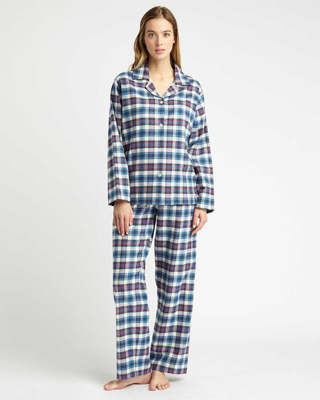 Women's Brushed Cotton Pyjamas - Lulworth Plaid