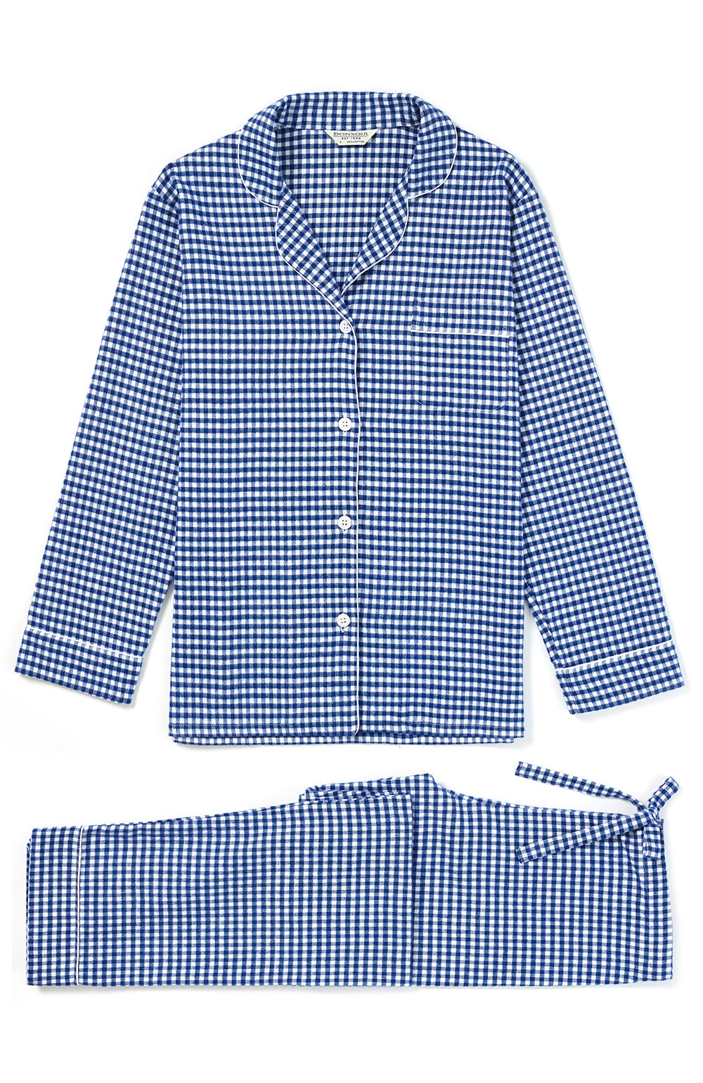 Women's Brushed Cotton Navy Gingham Pyjamas | Bonsoir of London