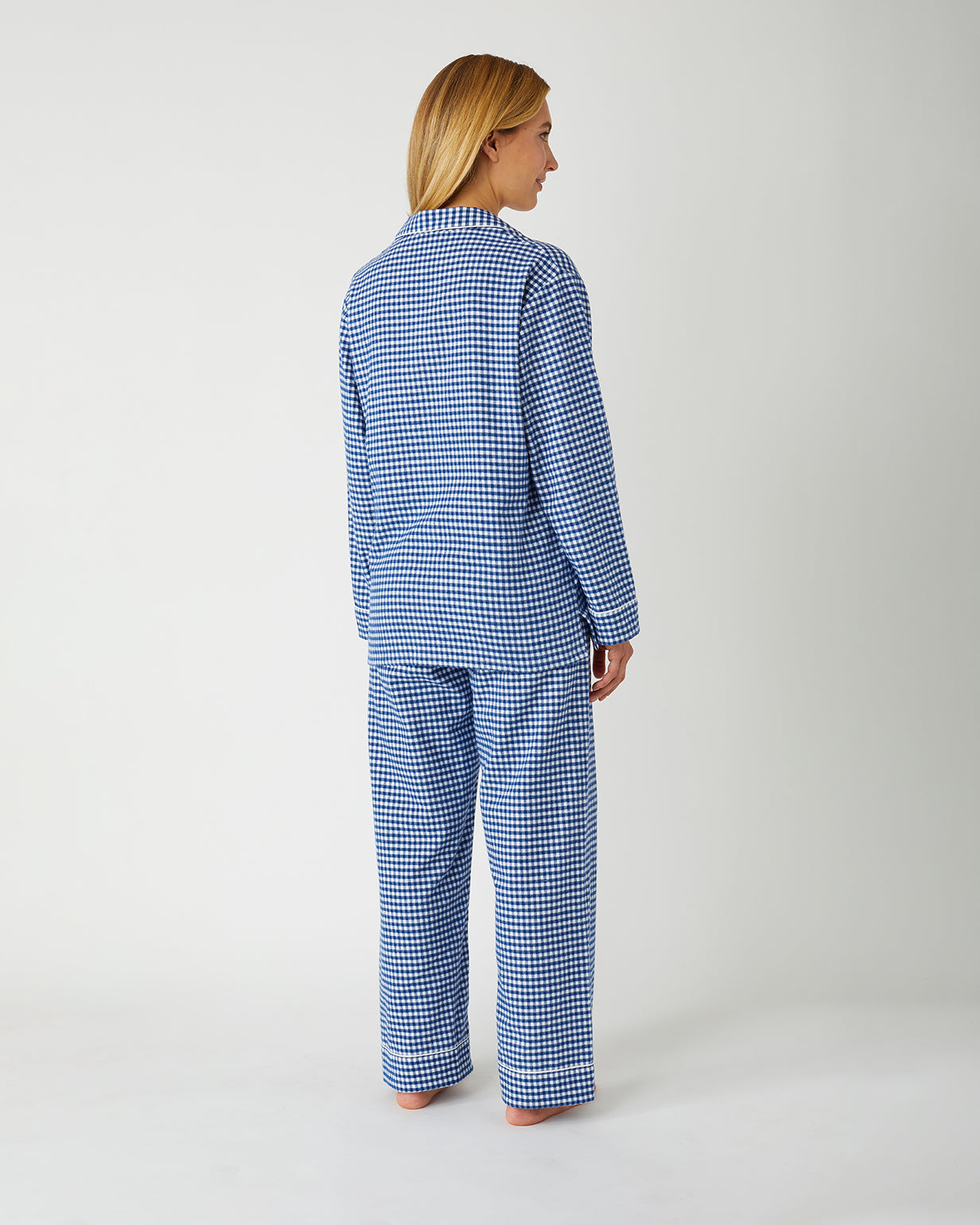 Women's Brushed Cotton Pyjamas - Navy Gingham