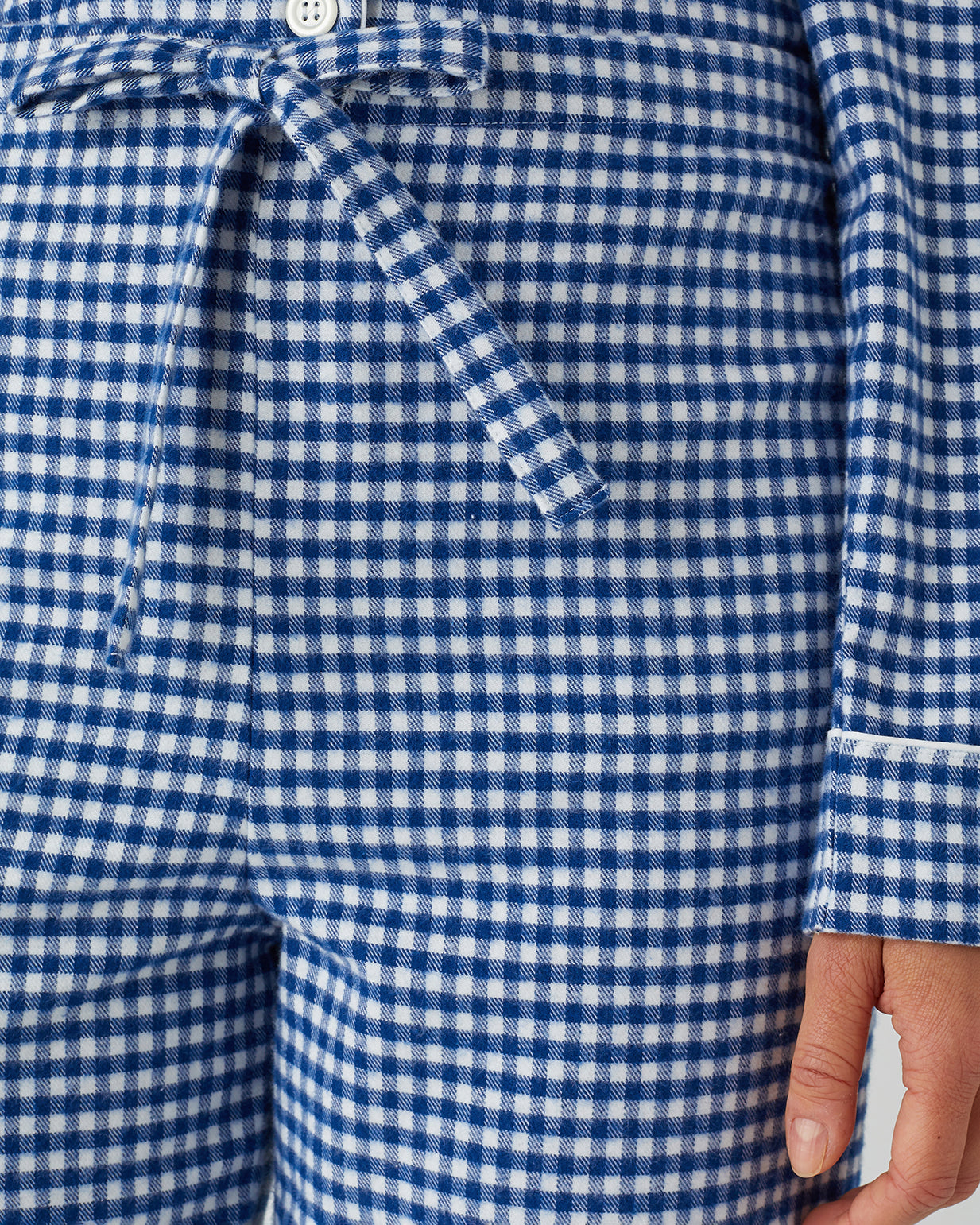 Women's Brushed Cotton Pyjamas (Blps) - Navy Gingham