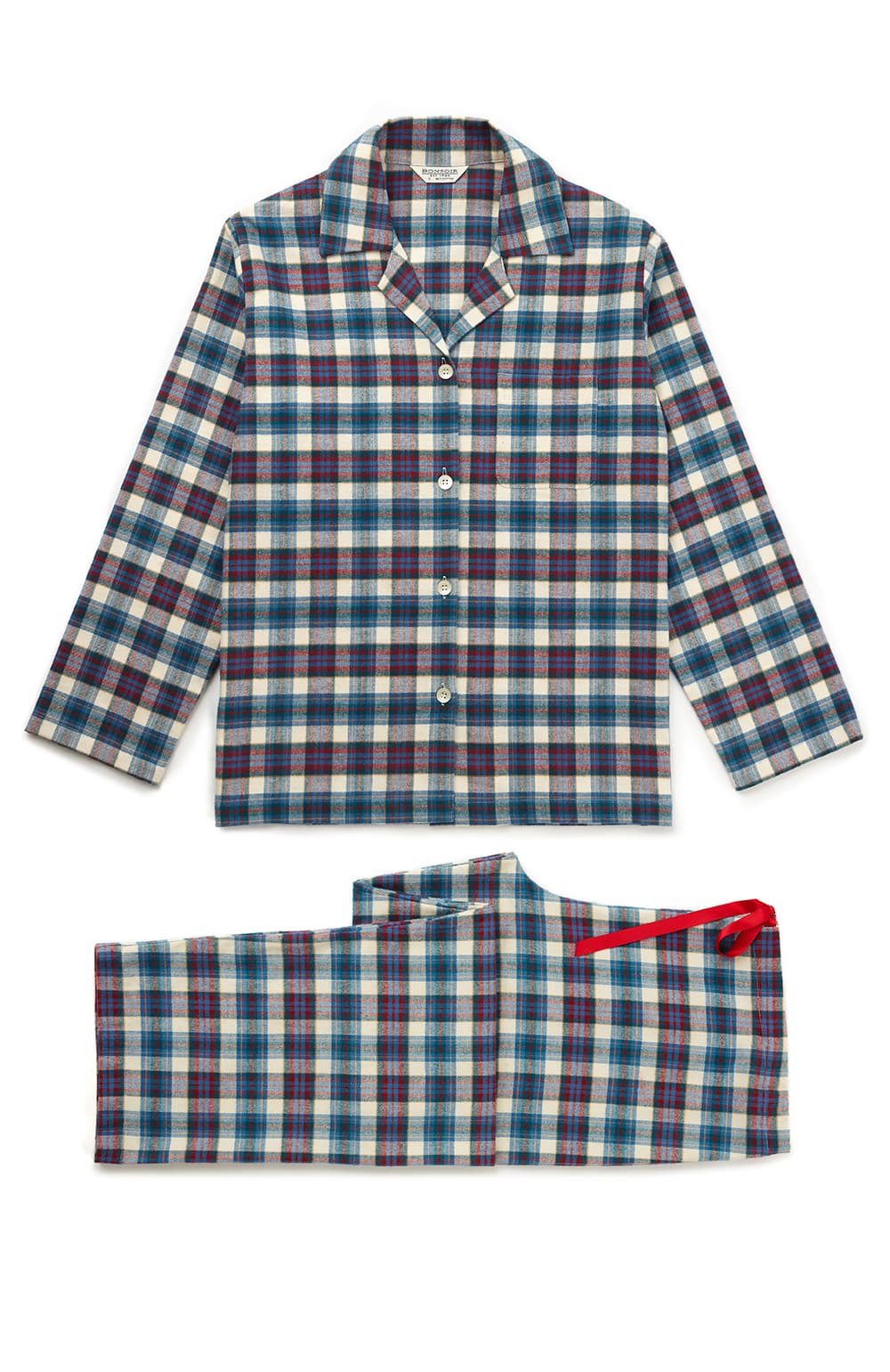 Brushed Tartan Pyjamas (tlps) - Lulworth | Bonsoir of London