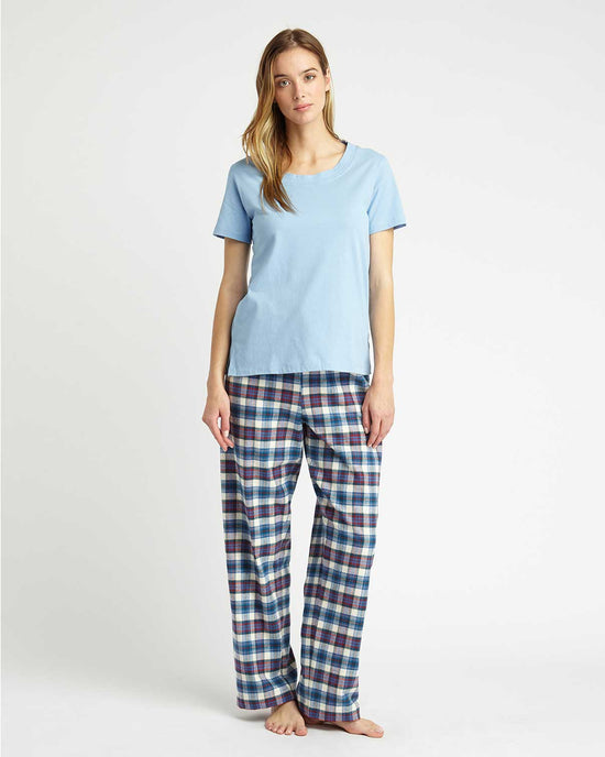 Women's Brushed Cotton Pyjama Trousers (tltf) - Bright Blue