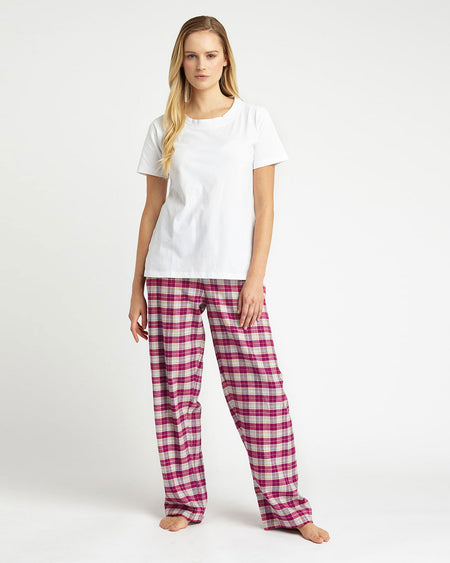Women's Brushed Cotton Pyjama Trousers - Melbury Red Plaid