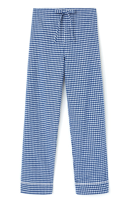 Brushed Cotton Navy Gingham Pyjama Trousers | Bonsoir of London