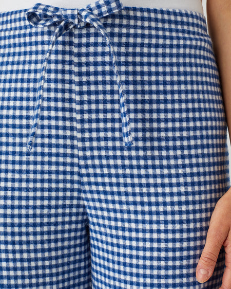 Women's Brushed Cotton Pyjama Trousers - Navy Gingham