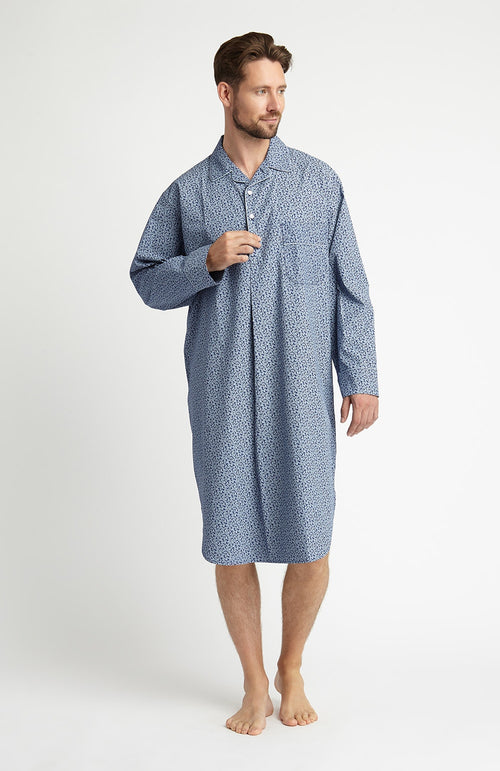 Printed Cotton Nightshirt (tmnm) - Blue Paisley