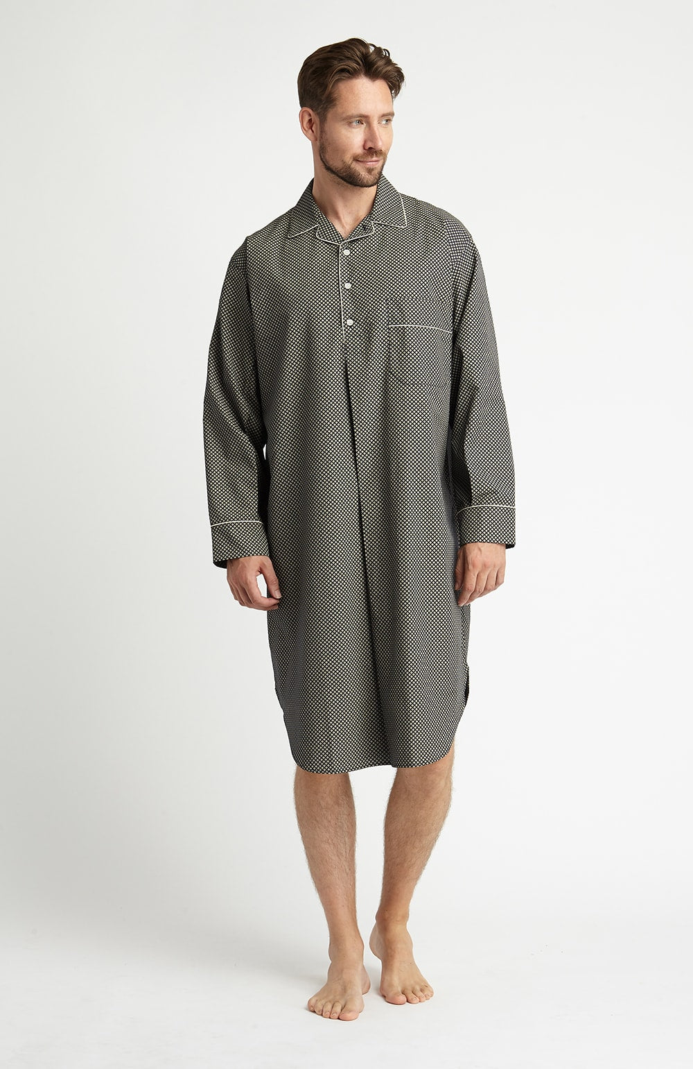 Printed Cotton Nightshirt (tmnm) - Charcoal Motif