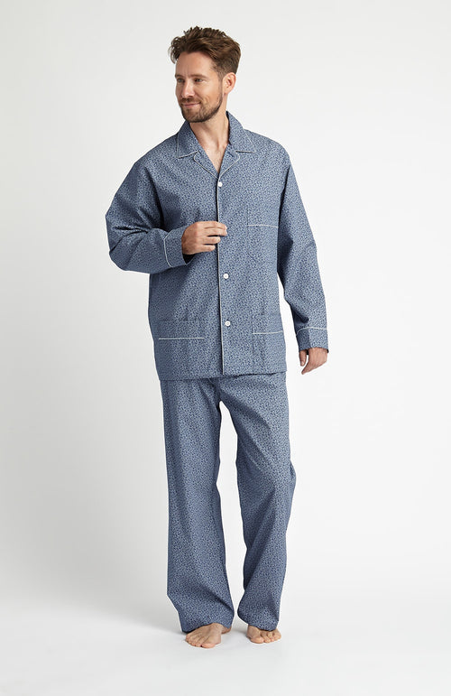 PRINTED COTTON PYJAMAS - BLUE PAISLEY
