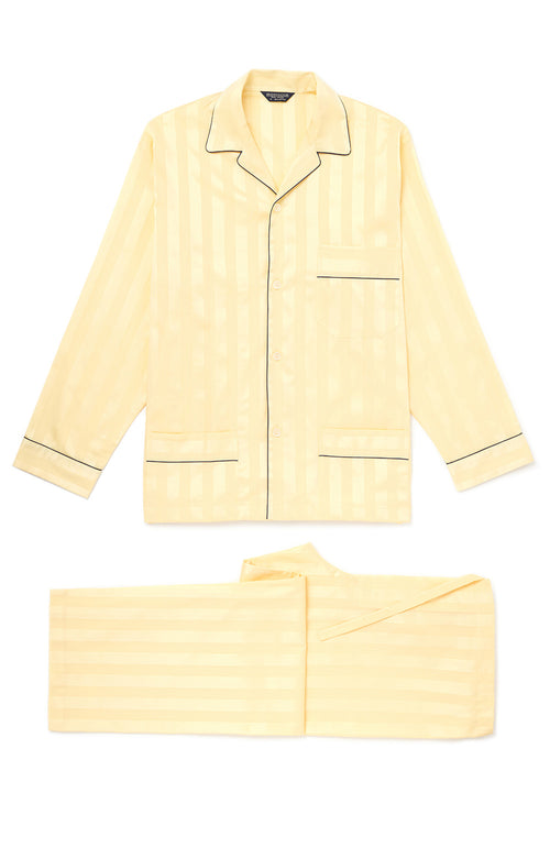 SATIN STRIPE TIE WAIST PYJAMAS (TOT18MPTW) - MAIZE