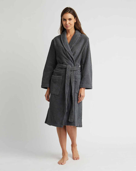 Towelling Bath Robe Charcoal Grey | Bonsoir of London