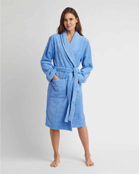 Towelling Robe Sky | Bonsoir of London