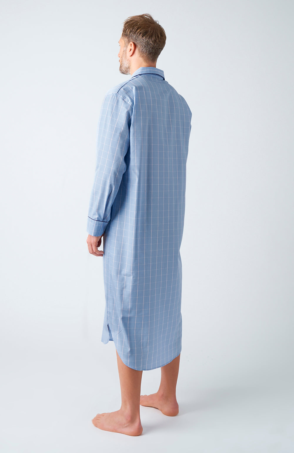 Men's Sky Purple Check Two-Fold Cotton Nightshirt | Bonsoir of London
