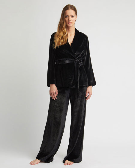 Women's Stretch Velvet Trousers - Black