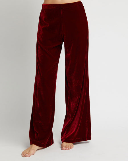Women's Stretch Velvet Trousers - Red