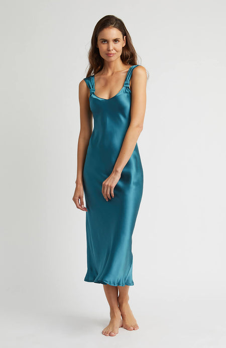 Vintage Style Teal Silk Nightdress | Bonsoir of London