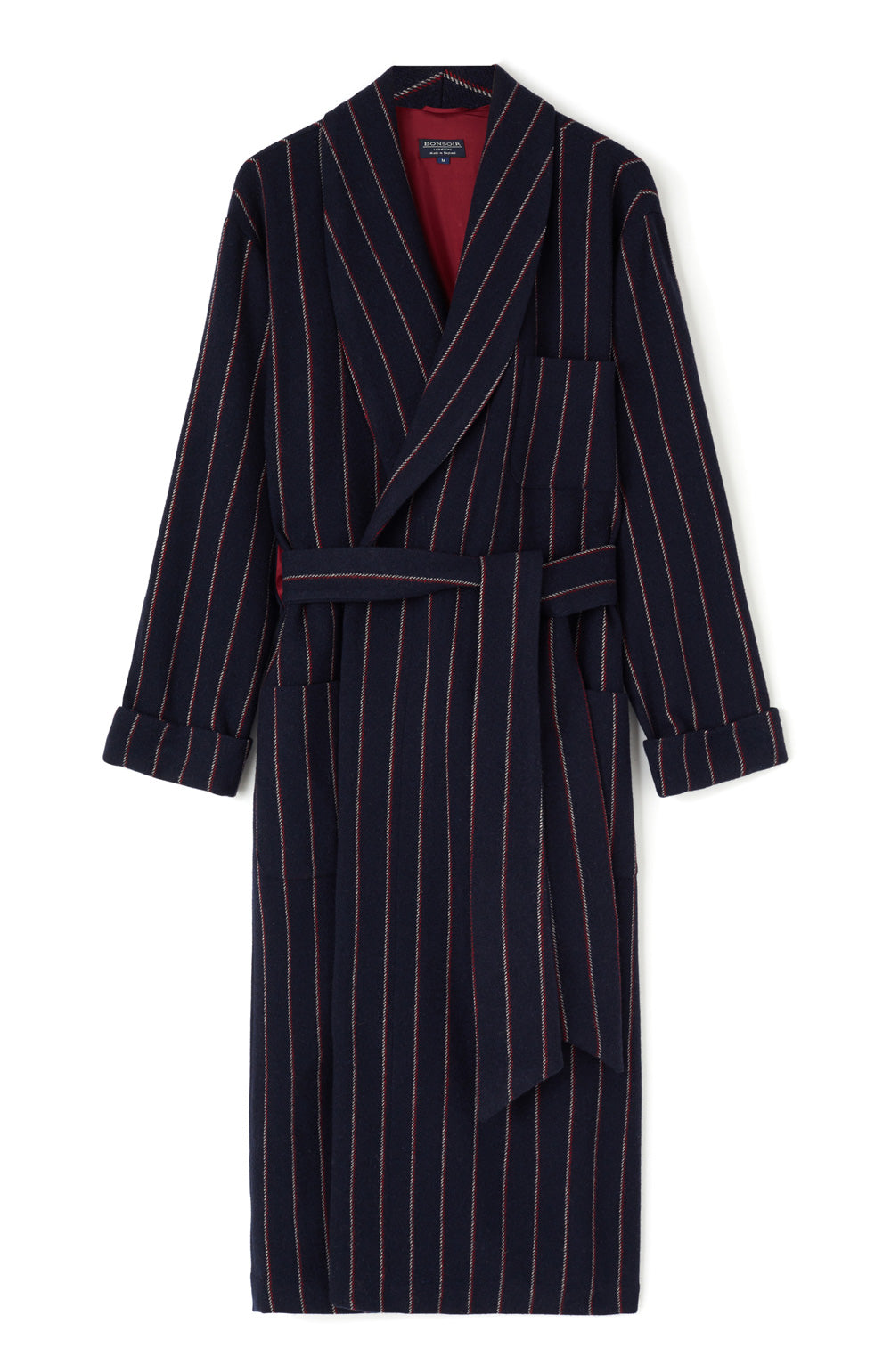 Luxury Silk-Lined Navy Red Stripe Wool Robe | Bonsoir of London