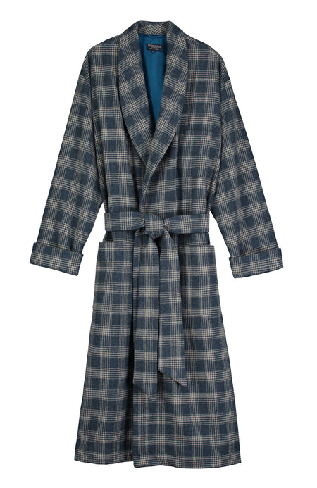 Silk-Lined Wool Robe (wlmd) - Teal Check