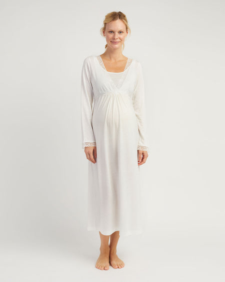 Maternity & Nursing Long Sleeve Jersey Nightdress - Antique White