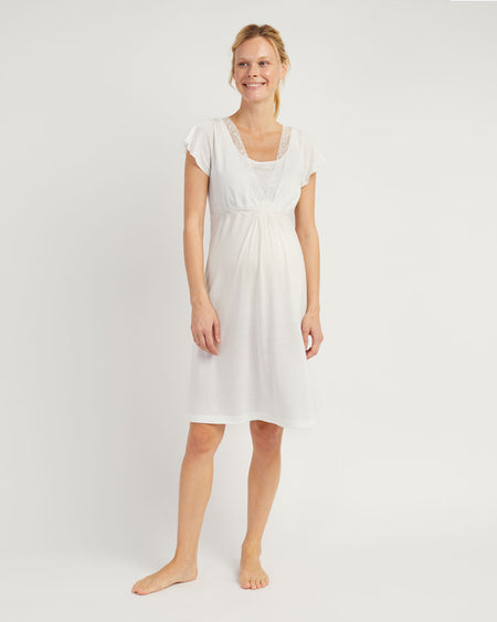 Maternity & Nursing Short Sleeve Jersey Nightdress - Antique White