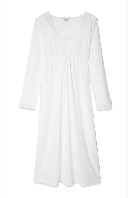 Maternity & Nursing Long Sleeve Jersey Nightdress (mlnl) Antique White
