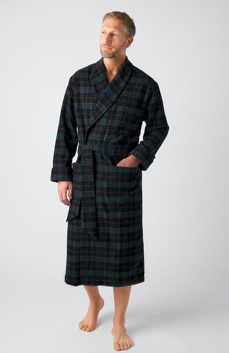 Men's Luxury Grey Red Check Silk-Lined Wool Robe | Bonsoir of London