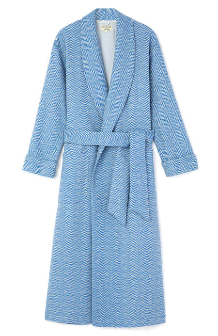 Silk Lined Blue Jacquard Wool Robe | Bonsoir of London
