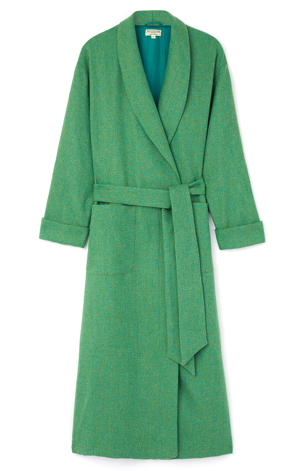 Silk Lined Green Wool Robe | Bonsoir of London