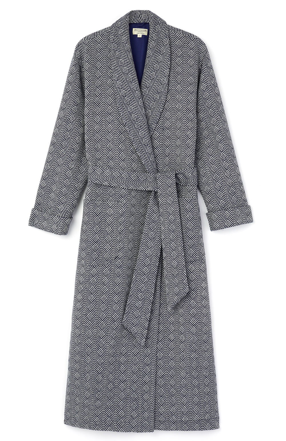 Silk Lined Navy Jacquard Wool Robe | Bonsoir of London