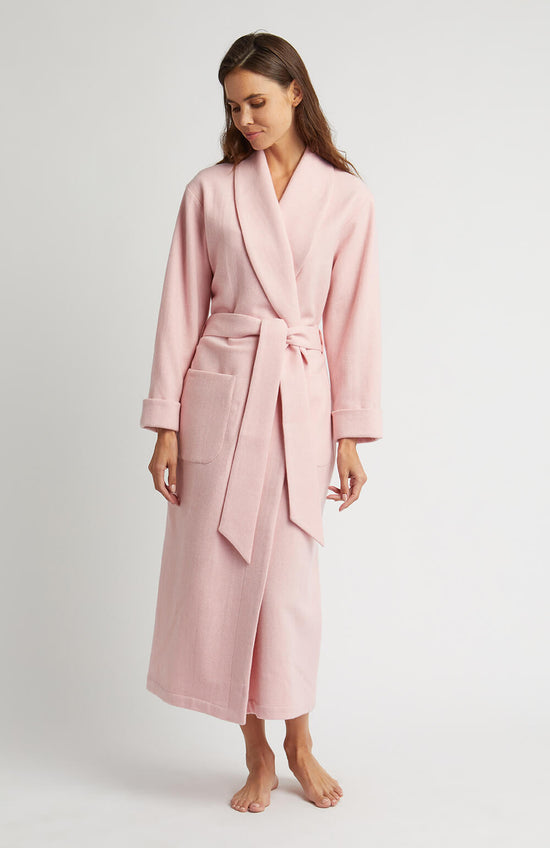 Women's Brushed Cotton Dressing Gown (Bldg) - Pink Bloom