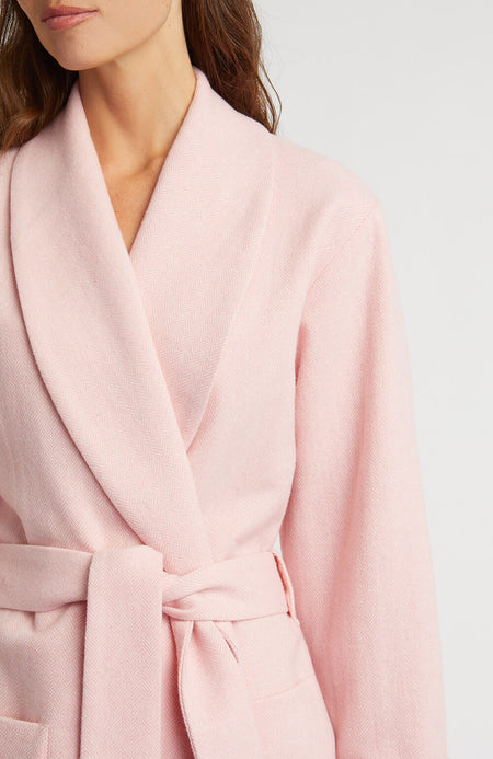 Silk Lined Pink Wool Robe | Bonsoir of London