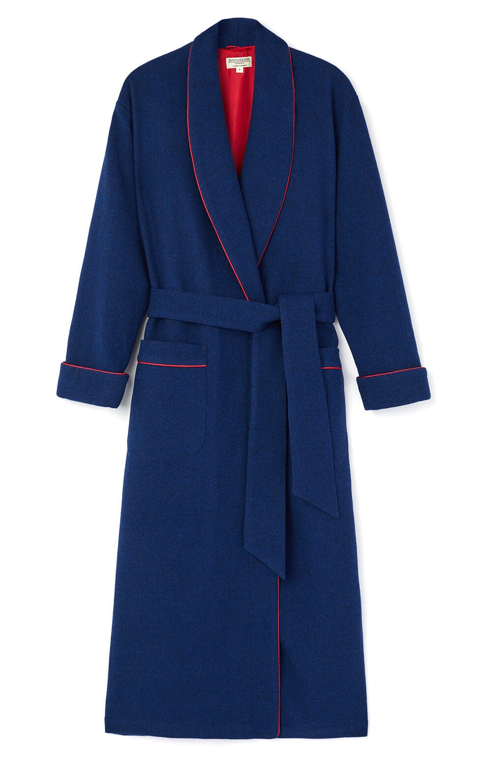 Silk Lined Royal Wool Robe | Bonsoir of London