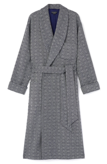Luxury Silk-Lined Navy Jacquard Wool Robe | Bonsoir of London
