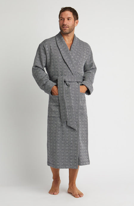 Silk-Lined Wool Robe (wlmd) - Navy Jacquard 43f14e6e5