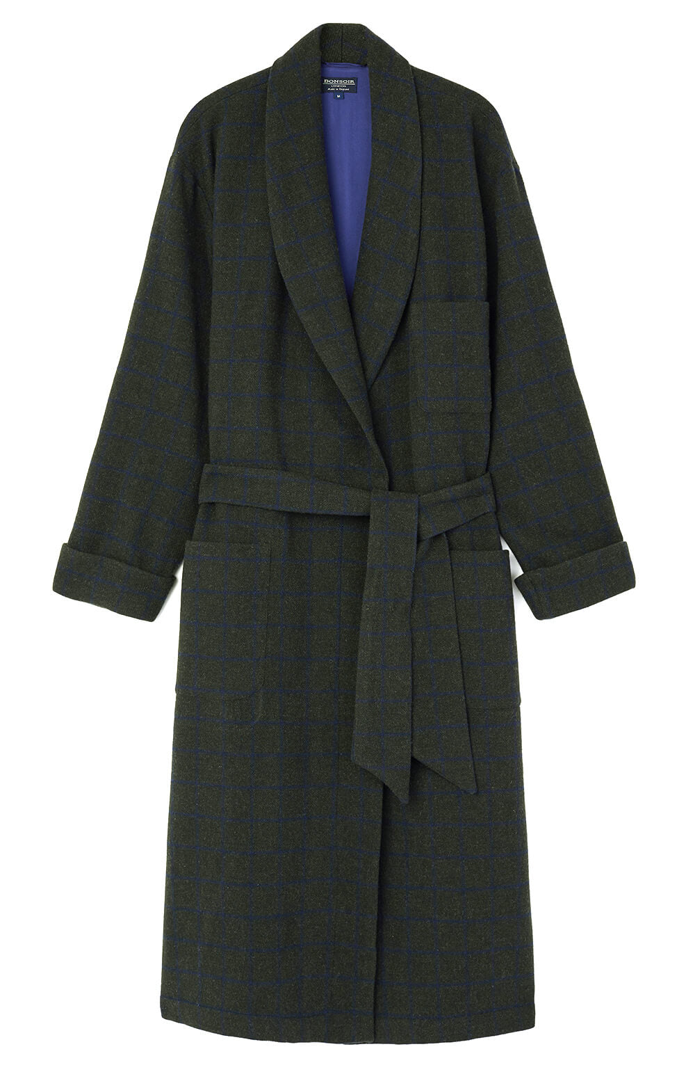 Silk-Lined Lambswool Green Check Dressing Gown | Bonsoir of London