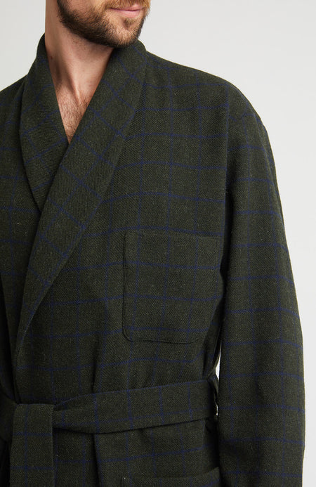 Men's Luxury Green Check Silk-Lined Wool Dressing Gown | Bonsoir of London
