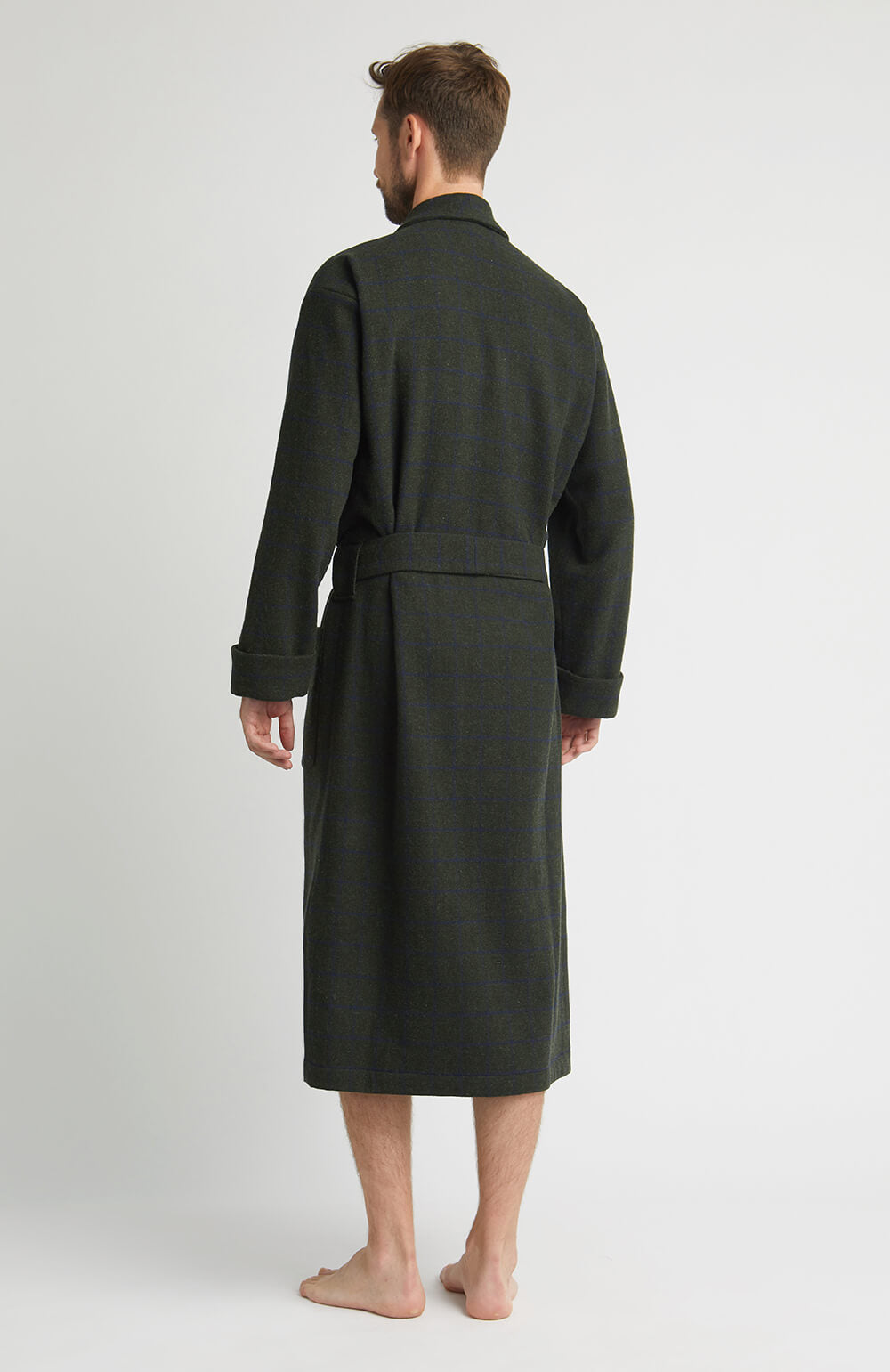 Luxury Silk-Lined Green Check Wool Robe | Bonsoir of London