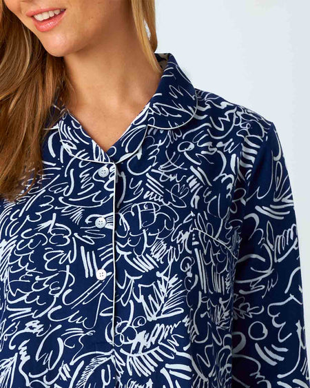 Women's Brushed Cotton Abstract Nightshirt | Bonsoir of London