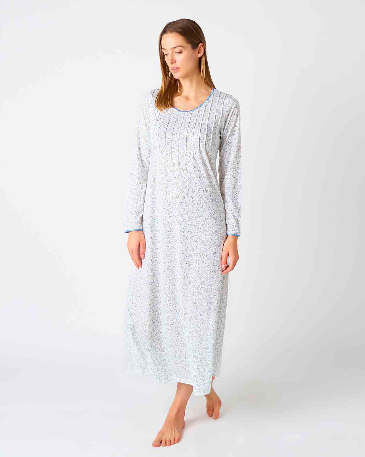 Women's French Pleat Blue Leaf Long Sleeve Nightdress | Bonsoir of London