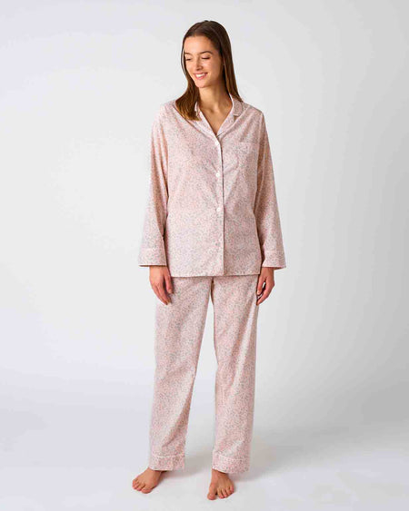 Women's Classic Cotton Pink Blossom Pyjamas | Bonsoir of London