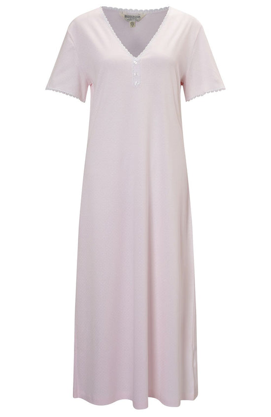French Pleat Short Sleeve Nightdress (3111) - Vintage Pink